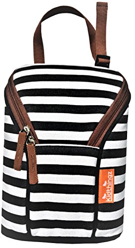 Kidthingz Double Bottle Bag Insulated- Easy to Take Anywhere Color Fast Treated, Looks Great for Baby Formula, Breast Milk, Sports Drink - Water Bottle Holder