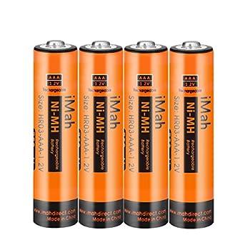 iMah AAA Rechargeable Batteries 1.2V 750mAh Ni-MH Also Compatible with Panasonic Cordless Phone Battery 1.2V 550mAh HHR-55AAABU 750mAh HHR-75AAA/B and 400mAh BK40AAABU BT205662 Solar Lights 4-Pack