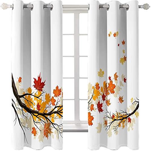 AMDXD 2 Paneles Cortinas Poliester, Cortinas de Ventana Dormitorio Hojas de Arce Cortinas Decorativas, Naranja Blanco, 264x160CM