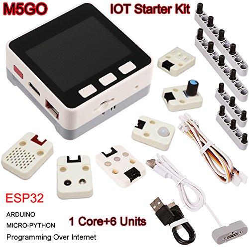 MakerHawk M5Stack ESP32 Kit de Inicio M5GO con Flash ESP32 16M, Sensor de Movimiento MPU9250, batería de Litio de 550mAh, Cables Grove para la programación de microPython/Arduino por Internet