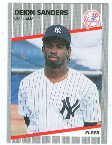 Deion Sanders baseball card 1989 Fleer #U-53 (Yankees Football Hall of Famer Cowboys) Rookie Card