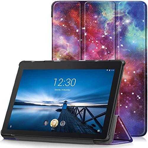 TTVie Hülle für Lenovo Tab E10 - Ultra Dünn & Leicht PU Leder Schutzhülle mit Standfunktion für Lenovo Tab E10 25,5 cm (10,1 Zoll HD IPS Touch) Tablet-PC, Milchstraße