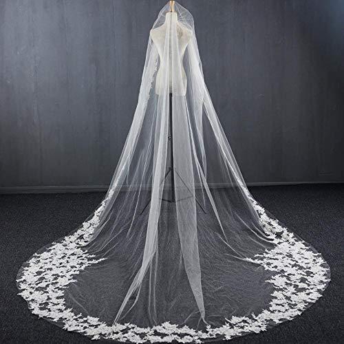Olydmsky Schleier Braut,Breite Spitze Bestickt Brautschleier dauerhaft weiche Spitze Tüll 350 * 300cm