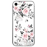 RXKEJI iPhone SE 2020 Case, iPhone 8 Case, iPhone 7 Case Clear Cute Girl Flower Design Soft Bumper Hard Back Cover Phone Case for iPhone 7 iPhone 8 iPhone SE 2nd Generation - Flower Rose Pink