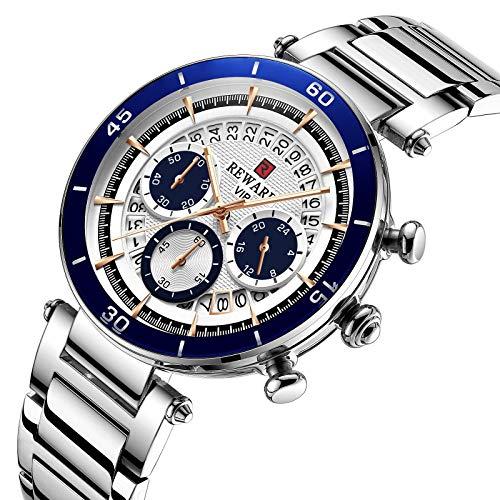 CXJC Reloj de cronógrafo deportivo for hombres, reloj de tres ojos y calendario de seis pines, reloj multifuncional luminous, reloj mecánico de hombres de acero inoxidable. (Color : Plata)