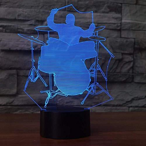 LED fietsverlichting LED kerstgeschenken 3D LED Jazz Drummer vorm mannen nachtlamp tafellamp 7 kleuren decoratie voor thuis Musical Musical Musical Nightstand Lampara Sonno Lightin g cadeau