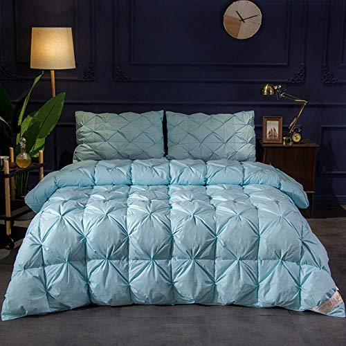 Miwaimao 95% White Goose Duvet Core Is Thickened Spring And Winter Was,Blue,220x240cm