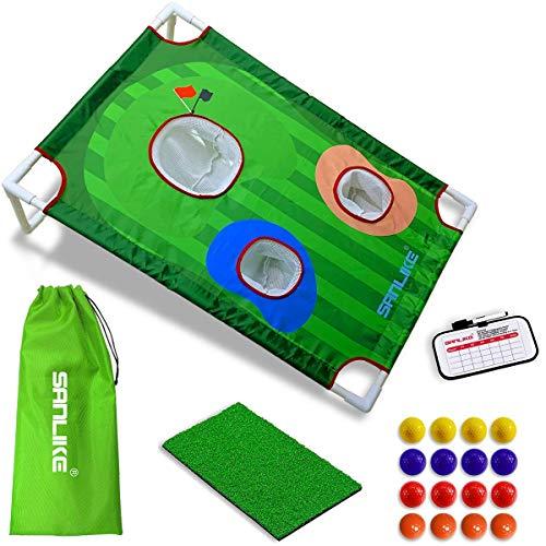 Tapis de golf pour cour - Jeu de cornhole avec entraînement - Filet de chipping - 16 balles d