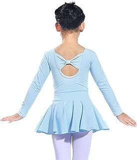 Girls Long Sleeve Ballet Leotards Dance Dress Back Bownot Cotton Leotard for Gymnastics Skirted