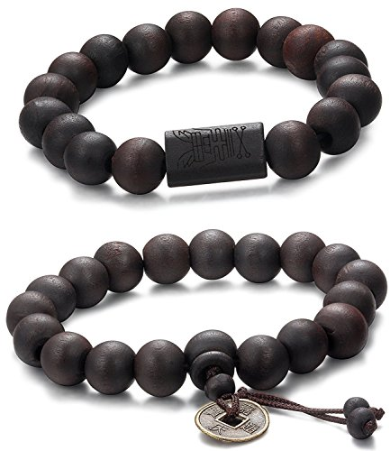 Jstyle 2 Pcs 11mm Madera Brazalete de Cuentas para los Hombres Mujeres Tibetano Buddhist Prayer Link Cool