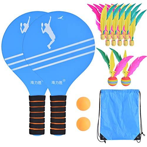 Wuudi Juego de raqueta de tenis de mesa 3 en 1, con 10 pelotas pequeñas, 2 volantes grandes, 2 ping pong de mesa, con una bolsa