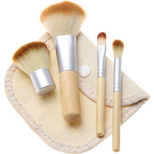 SupplyEU Lot de 4 pinceaux de maquillage en bambou avec sac cosmétique