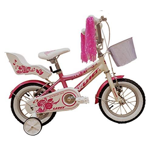 Umit 12' Diana Bicicleta Pulgadas Infantil niña, Unisex niños, Rosa/Blanca