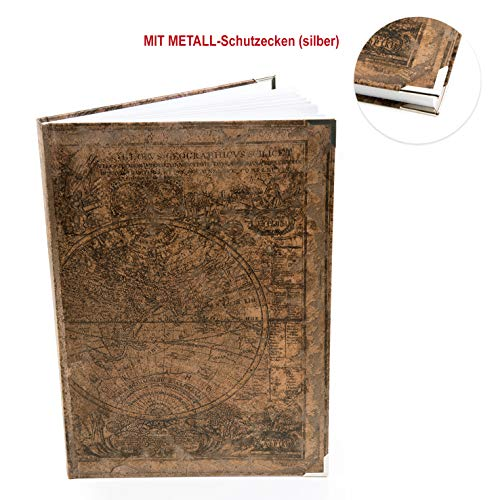 Logboek-Verlag notitieboekje vintage DIN A4 verschillende motieven blanco mit Metallecken Wereldkaart donkerbruin