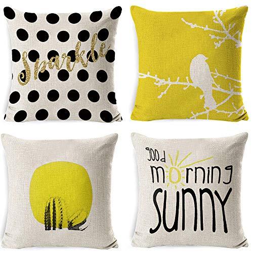 LYTFQ Pillow Case Cojines Decoracion Funda De Cojín Geométrico De Piña Amarilla para Sofá Cojines Decorativos Home 4 Piezas 45X45Cm