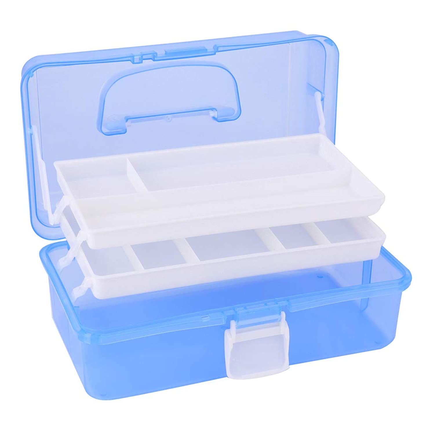 Tosnail Multipurpose Plastic Art Craft Supply Storage Case Storage Container with Two Trays (Blue)