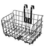 Lmx+3f ♥Folding Rear Bike Basket Wire Mesh Fold-Up Detchable Front Bag Rear Hanging Bike Basket Bicycle Bag Cargo Rack (Black, 33x20x20cm)