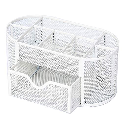 Hirkase Schreibtisch Organizer, Schreibtisch Tidy Mesh Tidy Organizer, Tisch-Organizer Multifunktions -Organisator Metall (weiß)