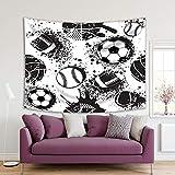 Henge Home Tapiz impreso de arte deportivo para el hogar, sala de estar, dormitorio, decoración duradera para colgar en la pared – Baloncesto Rugby Ba