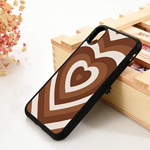 WGOUT para iPhone 5 5S 6 6S TPU Funda de Gel de síliceiPhone 7 Plus XX 11 12 Mini Pro MAX XR Rizado en Forma de corazón de café, para iPhone 6 Plus