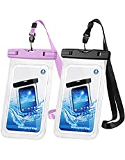 """Waterproof Phone Case, 2 Pack IPX8 Waterproof Phone Pouch Dry Bag Compatible with iPhone 12/12 Pro Max/11/11 Pro/SE/XS Max/XR/XS/8+/7, Galaxy S20/S10/S9/S8+ up to 7"""" for Beach Kayaking Swimming"""