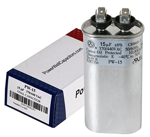 PowerWell 15 uf MFD 370 or 440 Volt Fan Motor Run Oval Capacitor PW-15/440 Condenser for Air Handler Straight Cool/Heat Pump Air Conditioner - Guaranteed to Last 5 Years