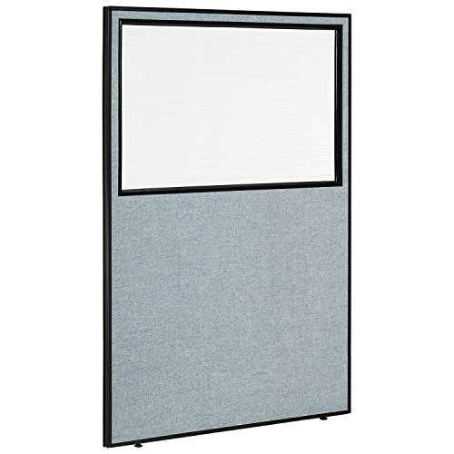 48-1/4W x 72H Office Partition Panel with Partial Window, Blue