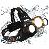 MsForce Ultimate LED Headlamp, Bright 1080 Lumens, Hard Hat Clips, Red Light, Lantern Cap, Rechargeable Batteries Included. USB Head Lamp Flashlight. Designed for Work, Camping, Outdoor & Hunting