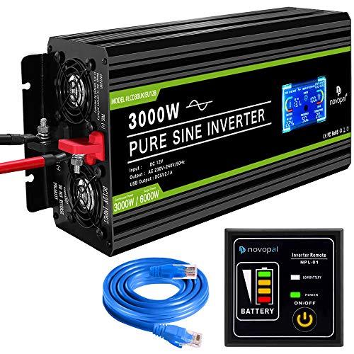 novopal® Spannungswandler12V auf 230V 3000W/6000W Reiner Sinus Wechselrichter -Inverter Konverter mit 2 EU Steckdose und 2.1A USB-Port - inkl. 5 Meter Fernsteuerung mit LCD Bildschirm