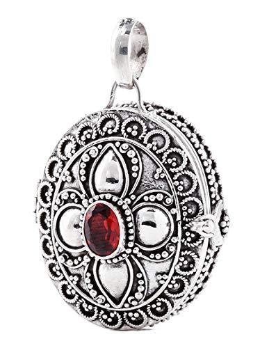 Windalf Grande Medieval medallón Garnet H: 4cm para joyería. con auténtico Granate & Compartimento Secreto Plata