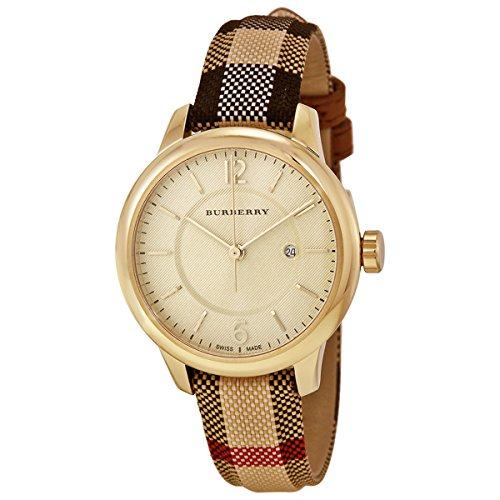 Burberry BU10104 Damen-Armbanduhr, goldfarbenes Zifferblatt, Edelstahl, Leder, Textil, Quarz