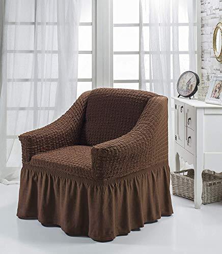 My Palace Aurora Sesselschoner 1 Sitzer Stretch und antirutsch Sesselhusse Fernsehsessel Bezug elastischer Sesselüberwurf mit Schaumstoffankern, 70-120cm Braun