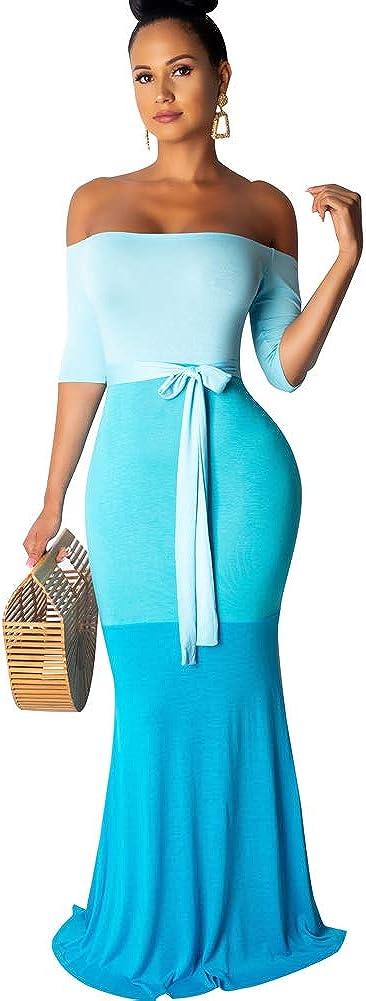 Womens Mermaid Long Maxi Dress - Off The Shoulder Triple Color Block Bodycon Dress