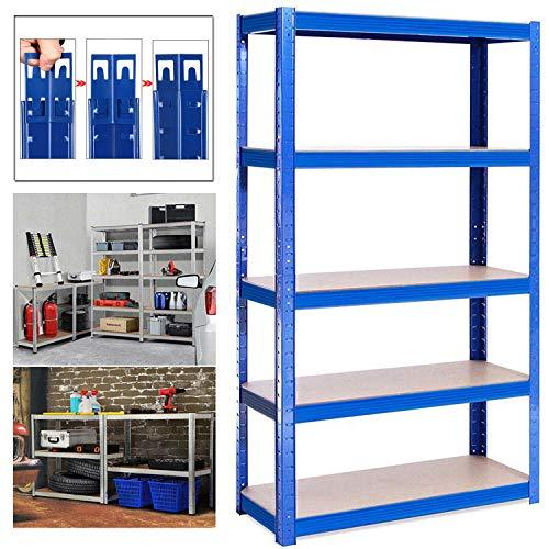Shed Garage Shelving Unit for Storage, 150x70x30cm 5 Tier Storage Shelf Unit, Heavy Duty Metal Racking Workbench w/5 MDF Board, 875Kg Load Capacity(175Kg Per Shelf), Rubber Feet, Blue