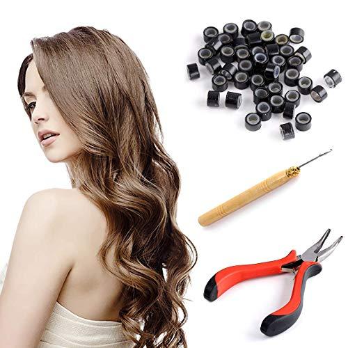 Faletony 3 in 1 Salon 100 x Microring Set Microrings, Schlaufennadel Microring Microringnadel Zange Werkzeugsatz Haarverlängerung Kit für Haarverlängerung Zubehör (schwarz/braun/beige)