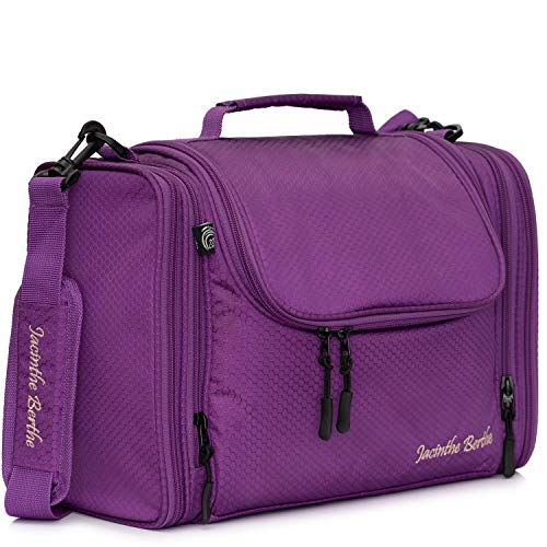 Jacinthe Berthe Extra Large Hanging Travel Toiletry Wash Bag for Men and Women Cosmetic Case 11 litres Purple