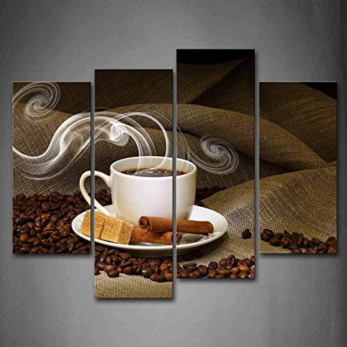 Braun EIN Tasse Von Kaffee Und Kaffee Bohne Wandkunst Malerei Das Bild Druck Auf Leinwand Essen Kunstwerk Bilder Für Zuhause Büro Moderne Dekoration