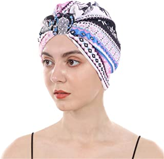 DuoZan Cotton Turbans Satin Liner Double-Layered Head Wrap Beanie Chemo Cap Sleep Bonnet