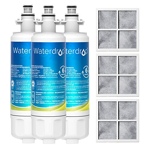 Waterdrop 469690 ADQ36006101 Replacement for LG LT700P&LT120F Air Filter, Kenmore 9690, ADQ36006102, LFXS30766S, RFC1200A, FML-3 Refrigerator Water, 3 Combo, Package May Vary