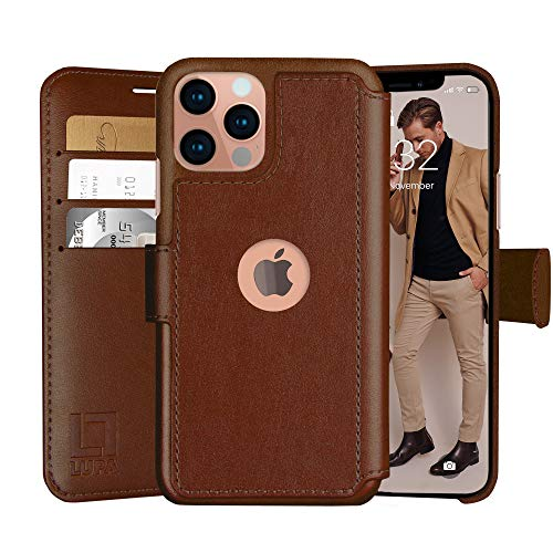 LUPA iPhone 12 Pro Max Wallet Case -Slim iPhone 12 Pro Max Flip Case with Credit Card Holder, for Women & Men, Faux Leather iPhone 12 Pro Max Purse Cases with Magnetic Closure, Caramel Brown…