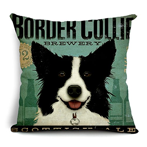 Poens Dream Housse de Coussin, Retro Vintage Border Collie Printed Cotton Linen Decorative Pillow Cushion Cover, 17.7 x 17.7inches