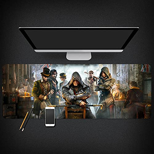 Assassin'S Creed Alfombrilla Raton Anime Gaming Mouse Pad XXL 900x400x3 mm,Impermeable con 3mm Base de Goma Antideslizante,Special-Textured Superficie para Ordenador, PC y Laptop-A_800*300 * 3