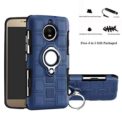 Labanema Moto G5S Funda, 360 Rotating Ring Grip Stand Holder Capa TPU + PC Shockproof Anti-rasguños teléfono Caso protección Cáscara Cover para Motorola Moto G5S - Azul Marino