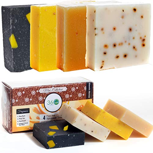 360Feel Men's Soap bar Handmade - 4 Man Soap Bar -Masculine fragrance- Bay Rum, Patchouli, Pine Tar with Charcoal Beeswax,Citrus - Gift pack- Natural Men Soap- Gift for him