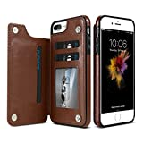 KiSSCASE iPhone X 10 8 7 6 6s Plus PU Leather Case Multi Card Holders Photo Frame Stand Function Slot Cover Wallet Money (Brown, iPhone Xs Max)