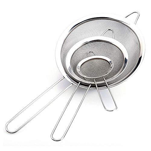 Voarge Juego de coladores de cocina de malla fina, 8/12/18 cm, de acero inoxidable