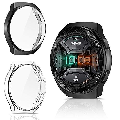 CAVN Hülle Kompatibel mit Huawei Watch GT 2e Schutzhülle Schutzfolie [2-Stück], Flexibles TPU Vollschutz Displayschutzfolie Kratzfest Displayschutz Schutz Hülle für GT 2e