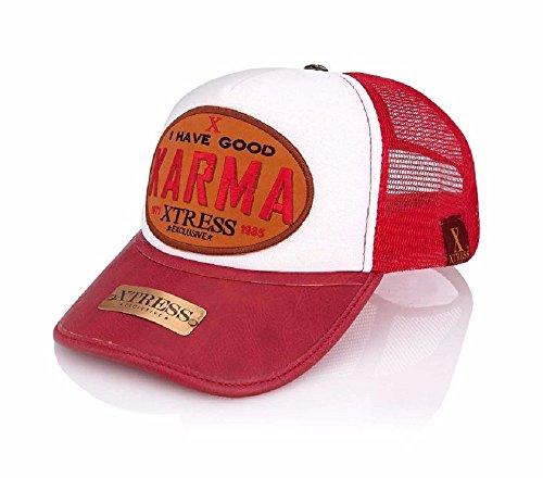 Gorra roja y blanca para hombre y mujer.