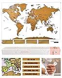Flamingueo Mapa Mundi Rascar - Poster Mapa Mundi para Rascar, Mapamundi con Púa para...