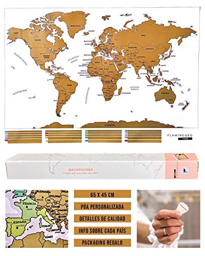 Flamingueo Mapa Mundi Rascar - Poster Mapa Mundi para Rascar, Mapamundi con Púa para Marcar Viajes, Mapa del Mundo para Rascar Países, Decoracion Habitacion, 65 x 45 cm (Mapa Mundi Rascar)